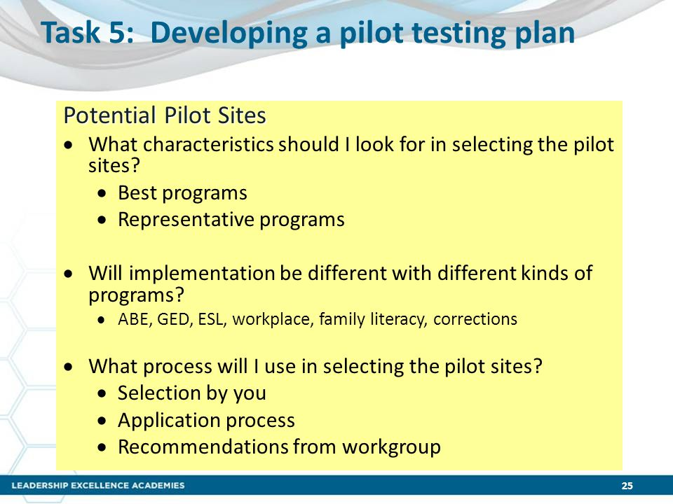 Task 5: Developing a pilot testing plan Potential Pilot Sites  What characteristics should I look for in selecting the pilot sites?  Best programs 