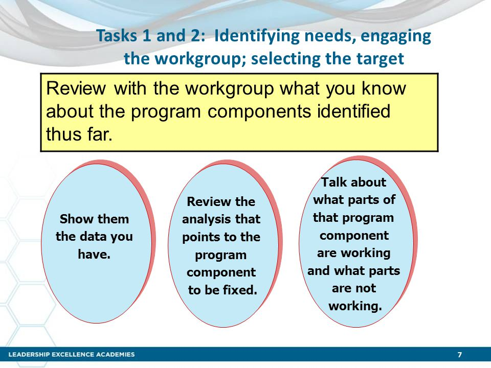 Tasks 1 and 2: Identifying needs, engaging the workgroup; selecting the target Review with the workgroup what you know about the program components identified thus far.