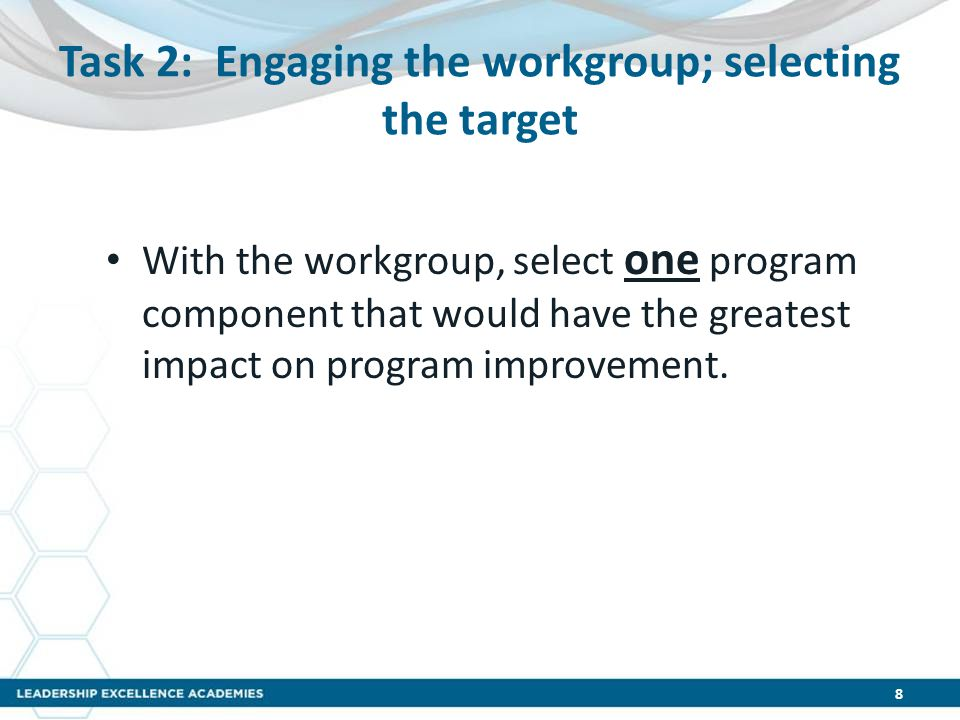 Task 2: Engaging the workgroup; selecting the target With the workgroup, select one program component that would have the greatest impact on program i