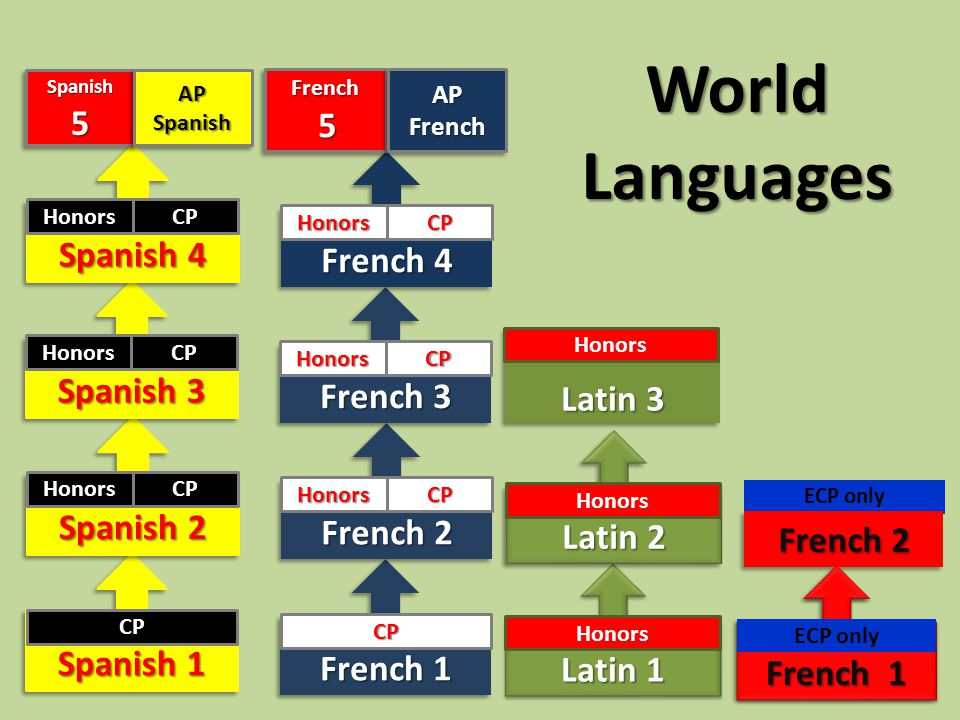 Spanish 1 CP Spanish 2 HonorsCP Spanish 3 HonorsCP Spanish 4 HonorsCP Spanish 5 APSpanishAPSpanish French 1 CP French 2 HonorsCP French 3 HonorsCP French 4 HonorsCP French 5French 5APFrenchAPFrench Latin 1 Honors Latin 2 Honors ECP only French 2 World Languages Latin 3 Honors