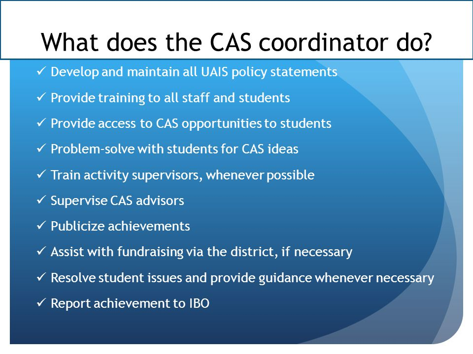 What does the CAS coordinator do.