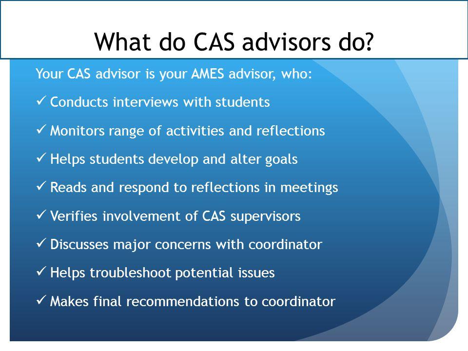 What do CAS advisors do.