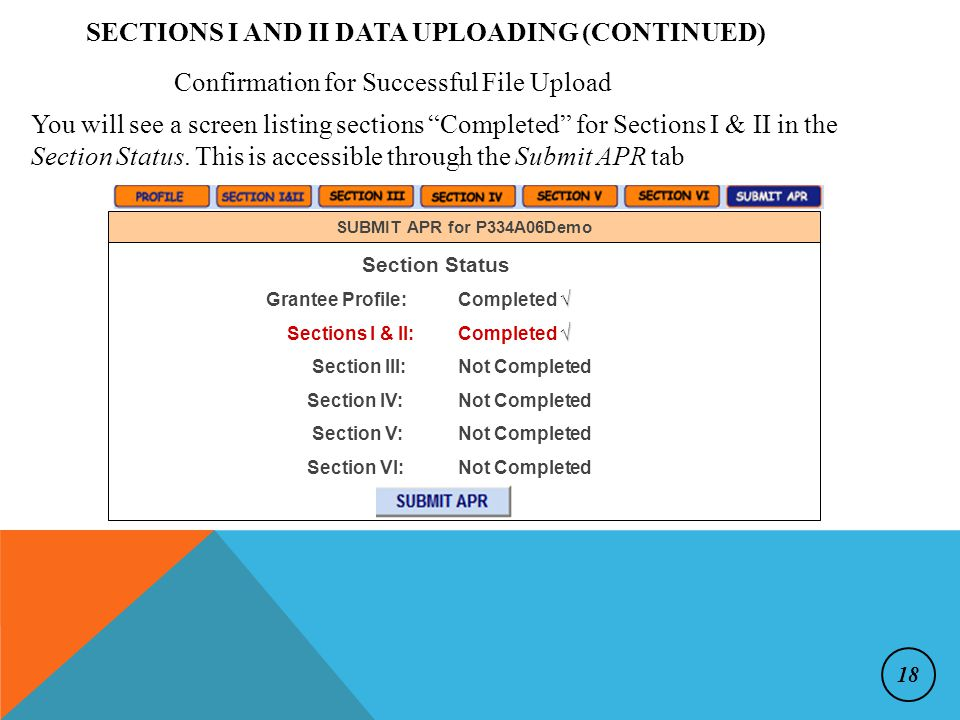 SECTIONS I AND II DATA UPLOADING (CONTINUED) Confirmation for Successful File Upload You will see a screen listing sections Completed for Sections I & II in the Section Status.