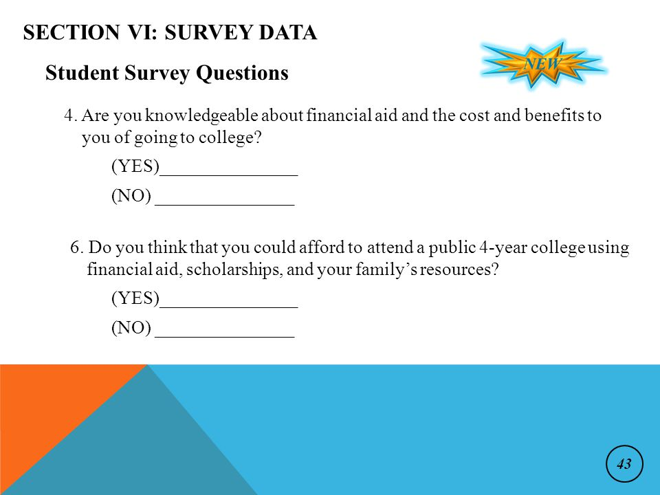 SECTION VI: SURVEY DATA Student Survey Questions 4.