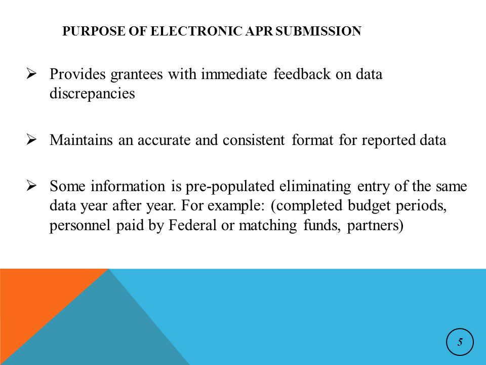  Provides grantees with immediate feedback on data discrepancies  Maintains an accurate and consistent format for reported data  Some information is pre-populated eliminating entry of the same data year after year.