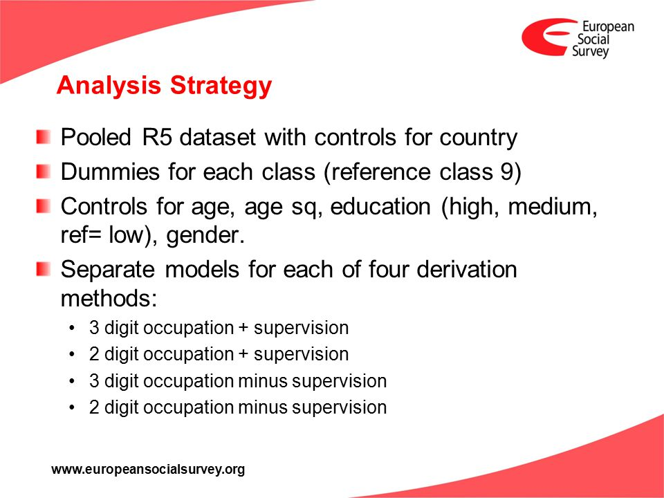 www.europeansocialsurvey.org Analysis Strategy Pooled R5 dataset with controls for country Dummies for each class (reference class 9) Controls for age, age sq, education (high, medium, ref= low), gender.