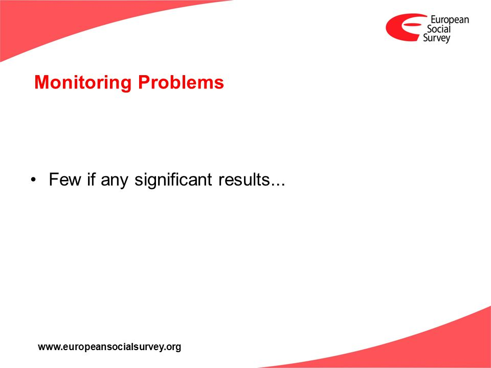 www.europeansocialsurvey.org Monitoring Problems Few if any significant results...