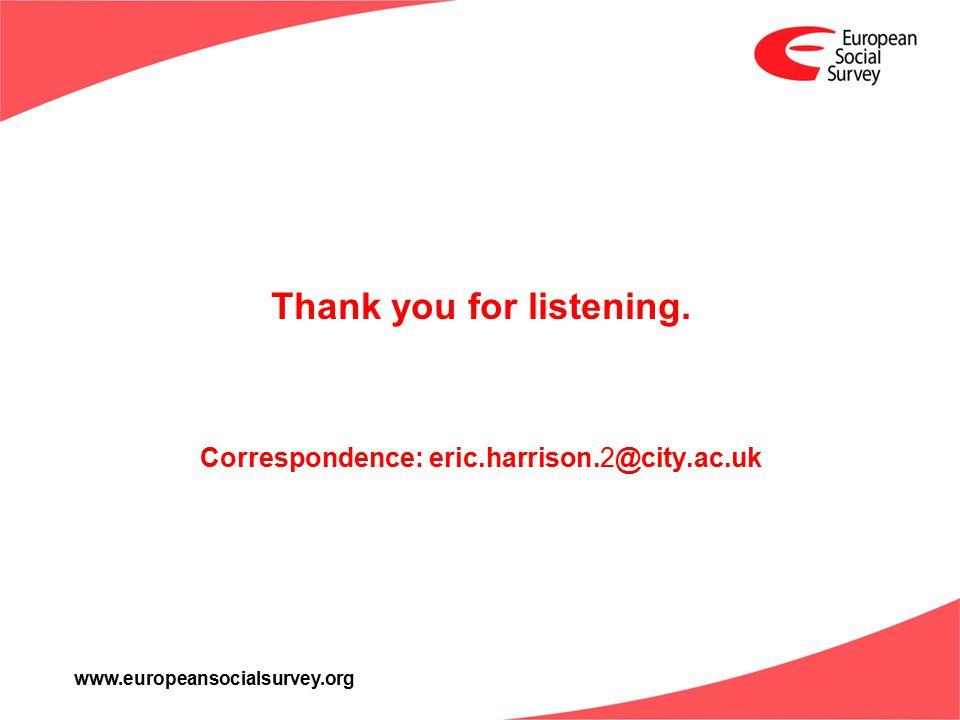 www.europeansocialsurvey.org Thank you for listening. Correspondence: eric.harrison.2@city.ac.uk