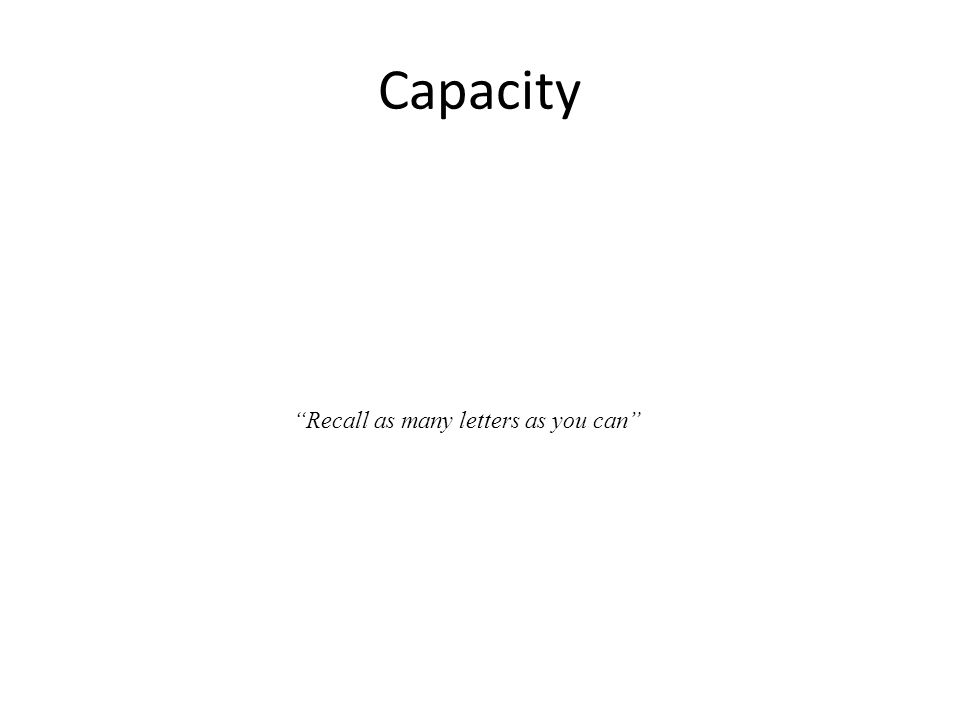 """Capacity """"Recall as many letters as you can"""""""