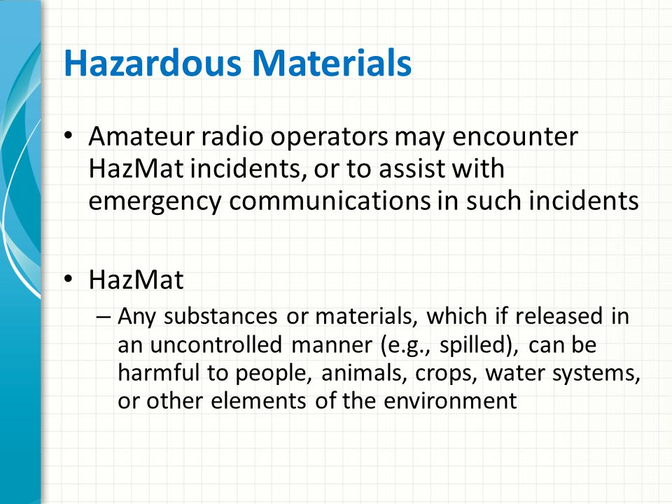 Topic 26 – Hazardous Materials Awareness
