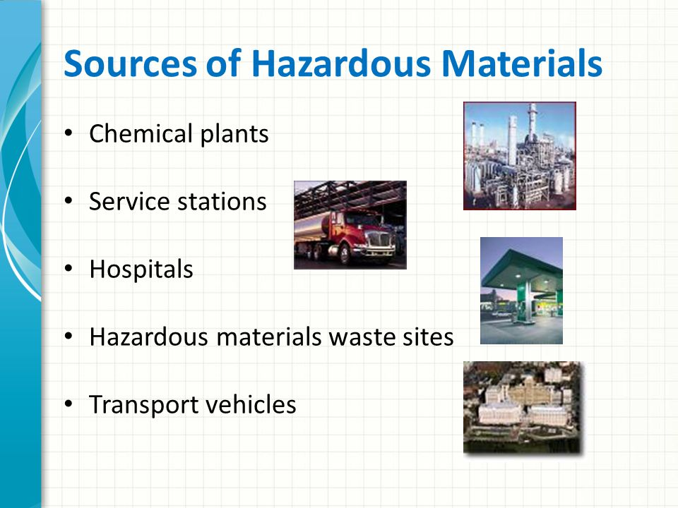HazMat Explosives Gases Flammable and combustible liquids Flammable solids or substances Poisonous and infectious substances Radioactive materials Corrosives