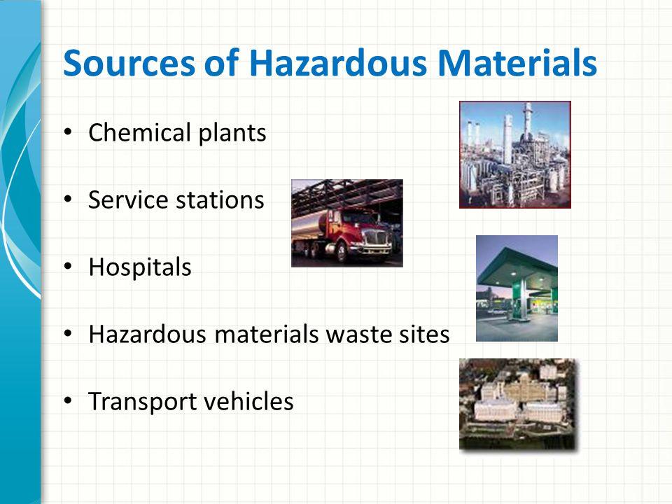 Sources of Hazardous Materials Chemical plants Service stations Hospitals Hazardous materials waste sites Transport vehicles