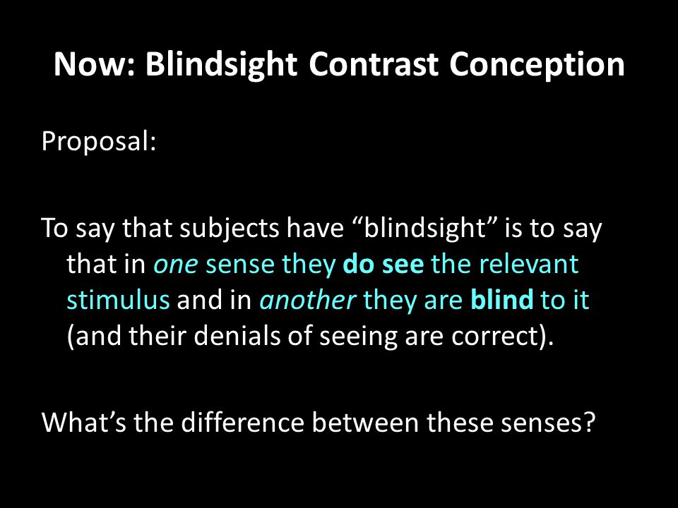 "Now: Blindsight Contrast Conception Proposal: To say that subjects have ""blindsight"" is to say that in one sense they do see the relevant stimulus and"