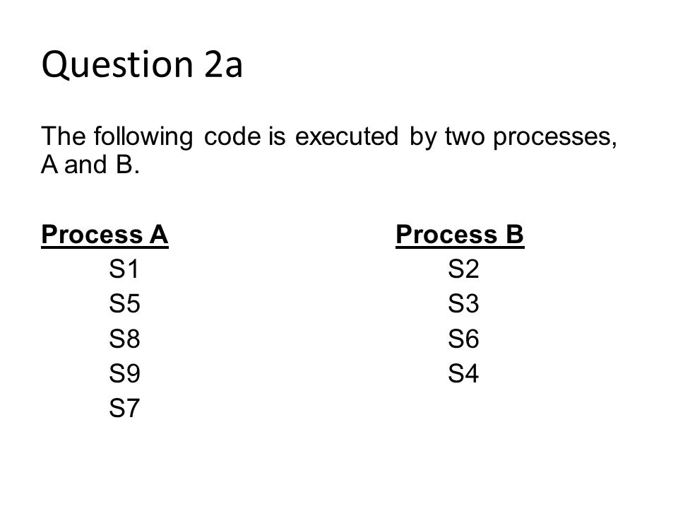Question 2a The following code is executed by two processes, A and B.