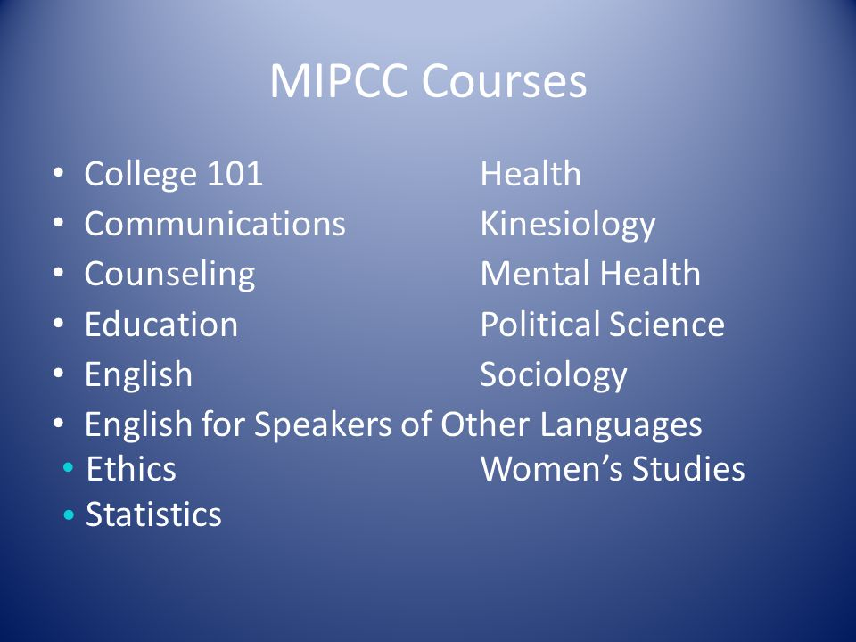 MIPCC Courses College 101Health Communications Kinesiology CounselingMental Health Education Political Science English Sociology English for Speakers of Other Languages EthicsWomen's Studies Statistics