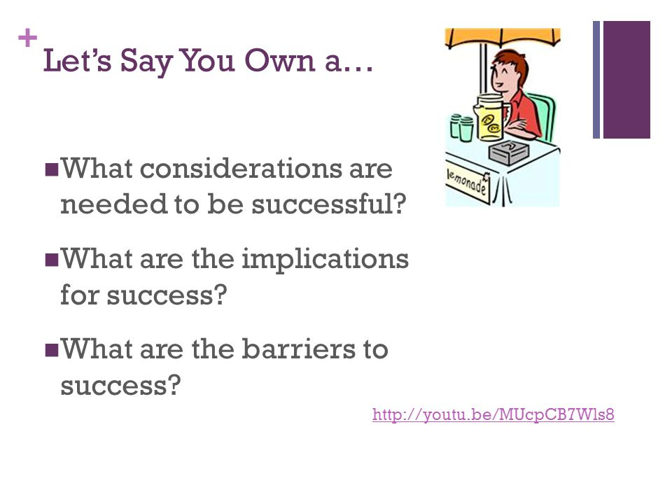 + Let's Say You Own a… What considerations are needed to be successful? What are the implications for success? What are the barriers to success? http: