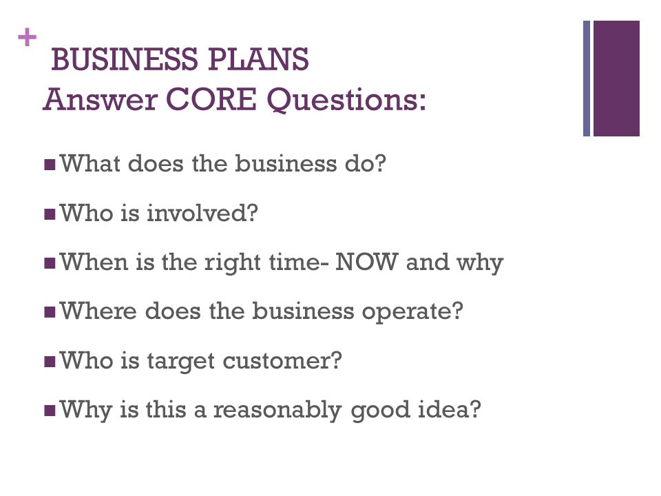 + BUSINESS PLANS Answer CORE Questions: What does the business do.