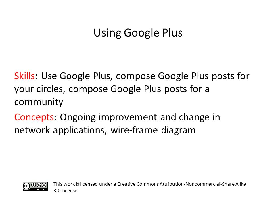 Skills: Use Google Plus, compose Google Plus posts for your circles, compose Google Plus posts for a community Concepts: Ongoing improvement and chang