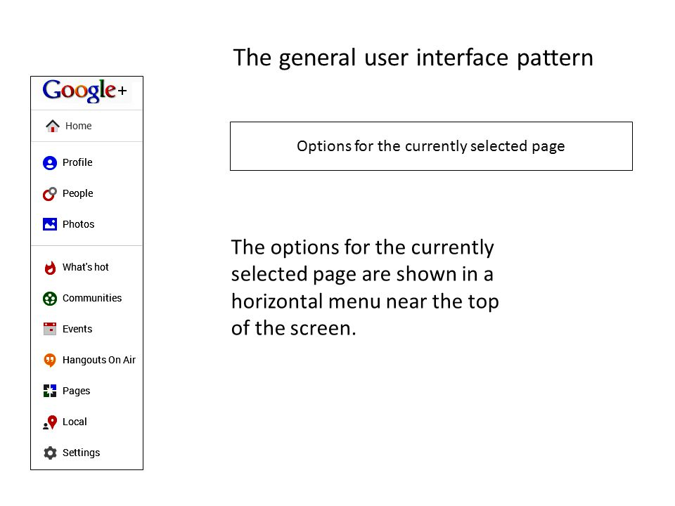 The general user interface pattern Options for the currently selected page The options for the currently selected page are shown in a horizontal menu near the top of the screen.