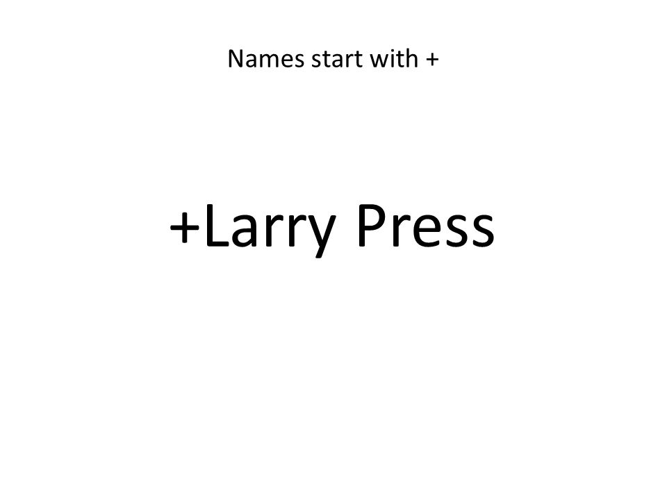 +Larry Press Names start with +