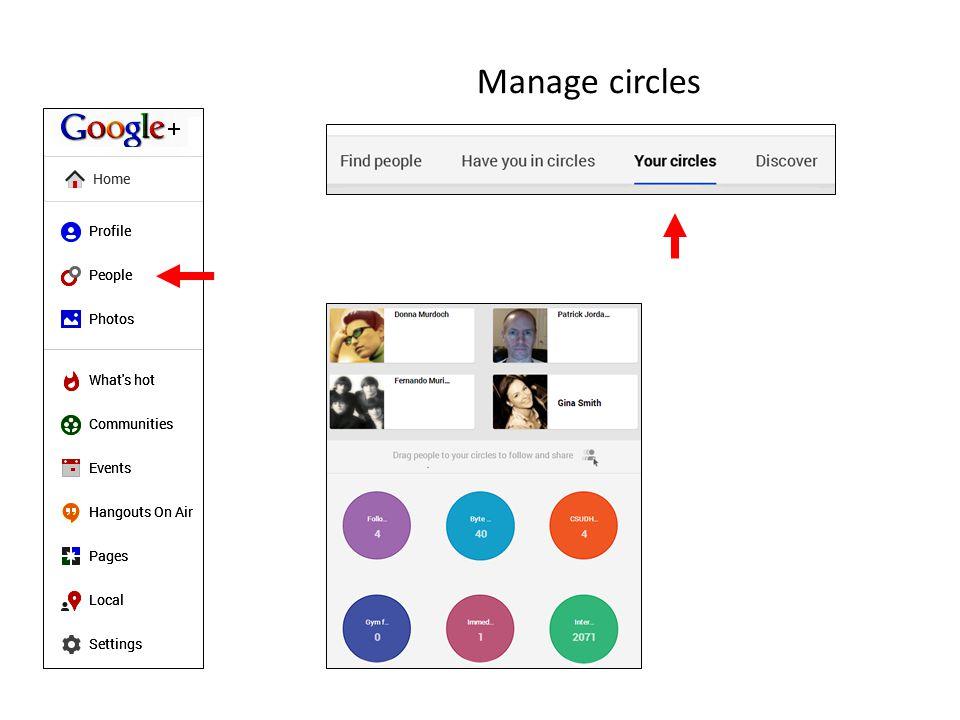 Manage circles