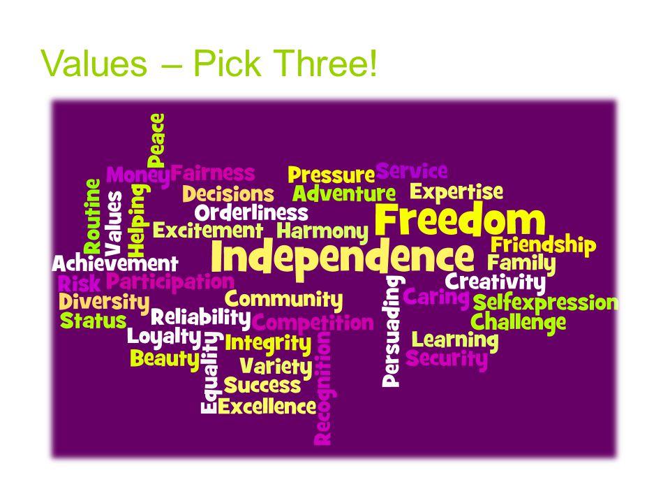 Values – Pick Three!