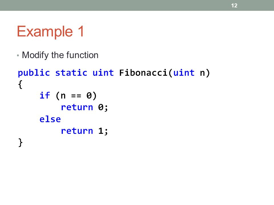 Example 1 Modify the function 12