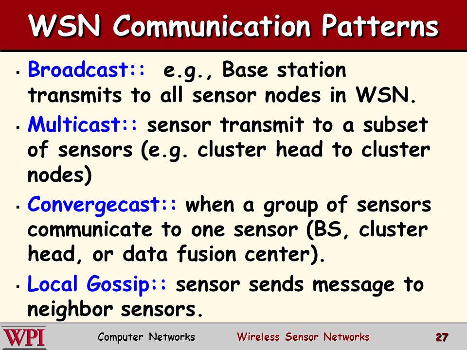 WSN Communication Patterns  Broadcast:: e.g., Base station transmits to all sensor nodes in WSN.  Multicast:: sensor transmit to a subset of sensors