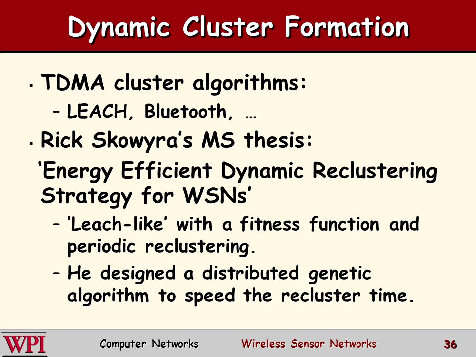 Dynamic Cluster Formation  TDMA cluster algorithms: –LEACH, Bluetooth, …  Rick Skowyra's MS thesis: 'Energy Efficient Dynamic Reclustering Strategy