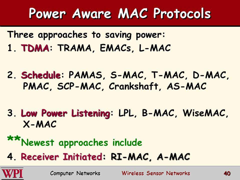 Power Aware MAC Protocols Three approaches to saving power: 1. TDMA:, EMACs, L-MAC 1. TDMA: TRAMA, EMACs, L-MAC 2. Schedule: PAMAS,, D-MAC, PMAC, 2. S