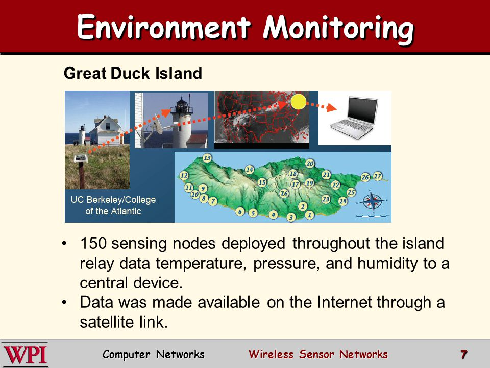 Environment Monitoring Great Duck Island 150 sensing nodes deployed throughout the island relay data temperature, pressure, and humidity to a central