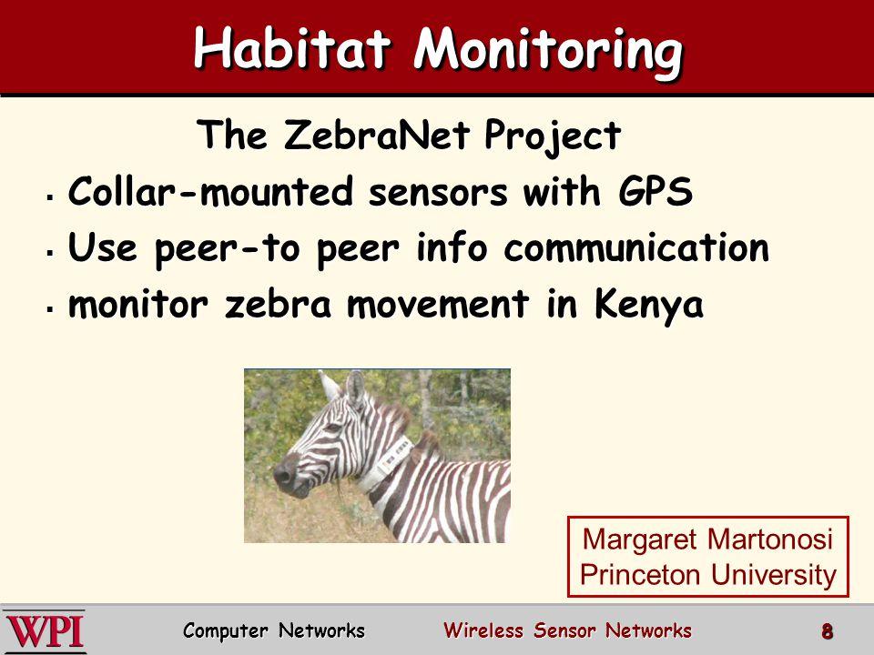 Habitat Monitoring The ZebraNet Project  Collar-mounted sensors with GPS  Use peer-to peer info communication  monitor zebra movement in Kenya Marg