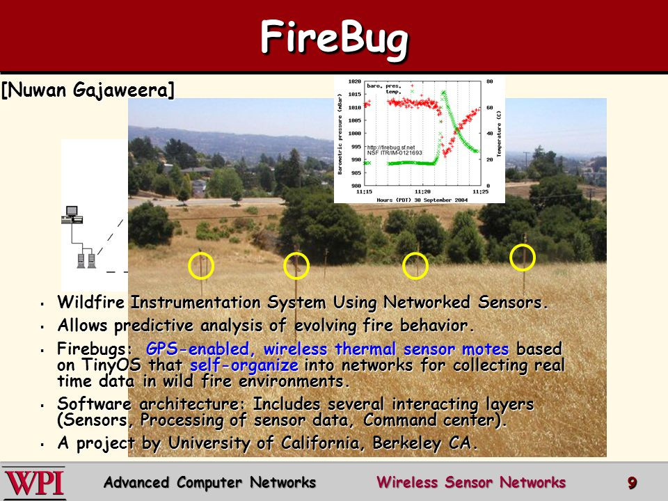 FireBugFireBug  Wildfire Instrumentation System Using Networked Sensors.  Allows predictive analysis of evolving fire behavior.  Firebugs: GPS-enab