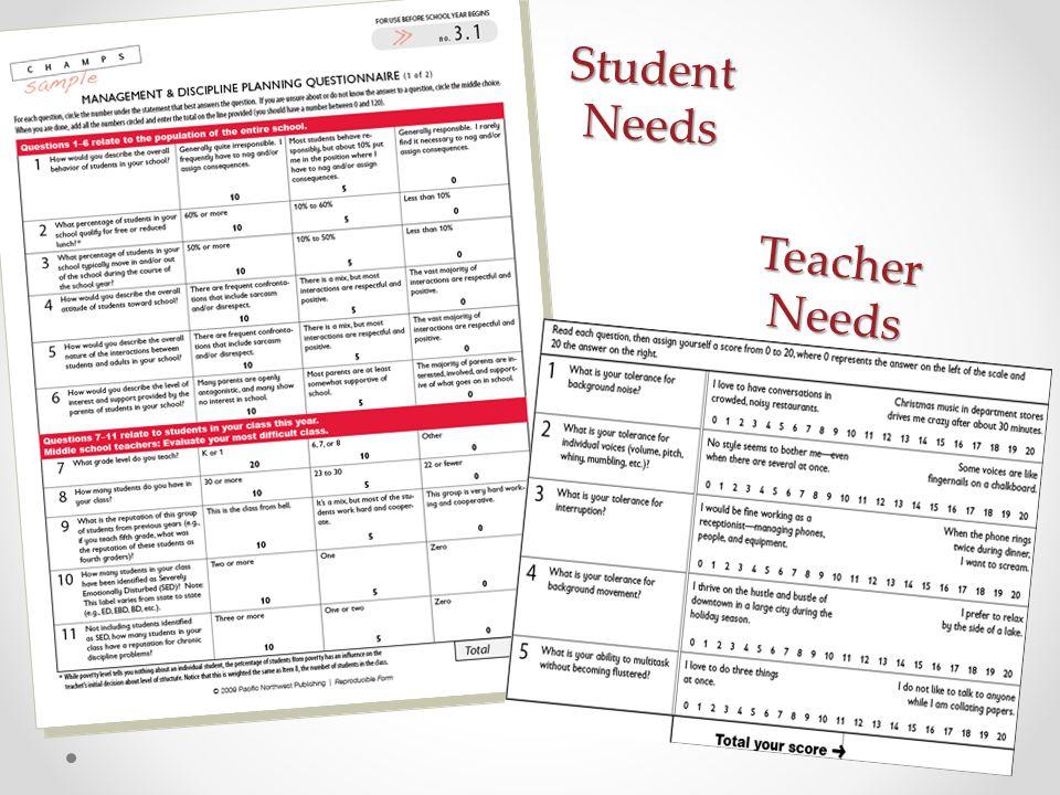 Student Needs Teacher Needs