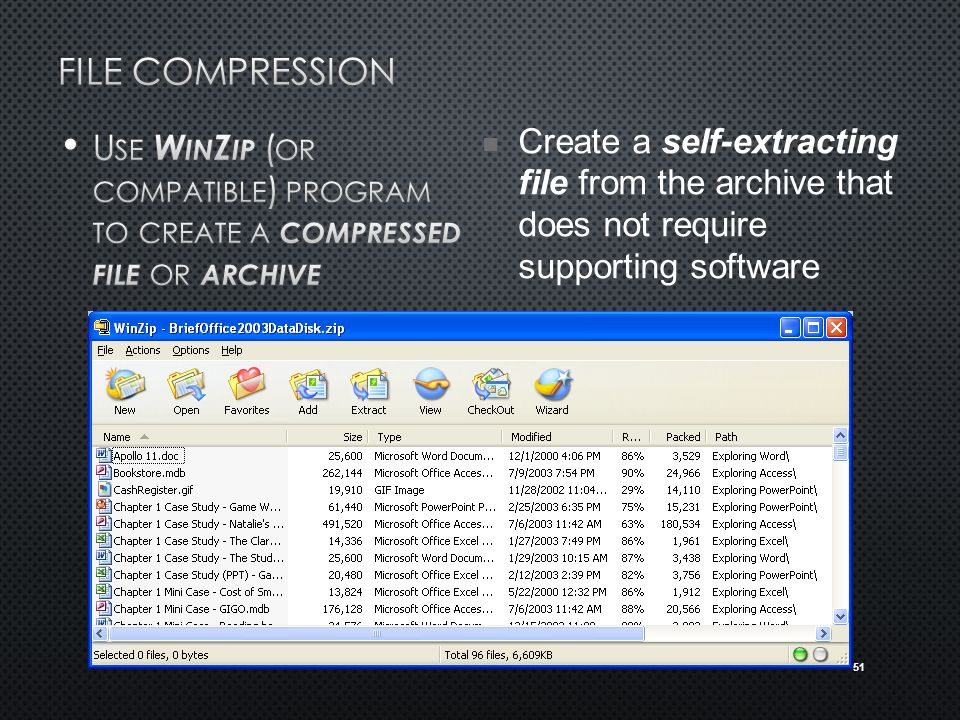 51 Create a self-extracting file from the archive that does not require supporting software