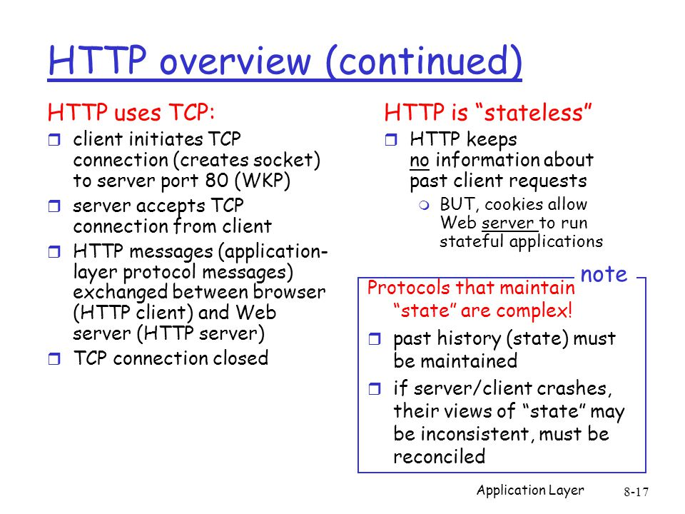 Application Layer 8-17 HTTP overview (continued) HTTP uses TCP: r client initiates TCP connection (creates socket) to server port 80 (WKP) r server ac