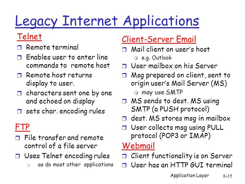 Application Layer 8-35 Legacy Internet Applications Telnet r Remote terminal r Enables user to enter line commands to remote host r Remote host return