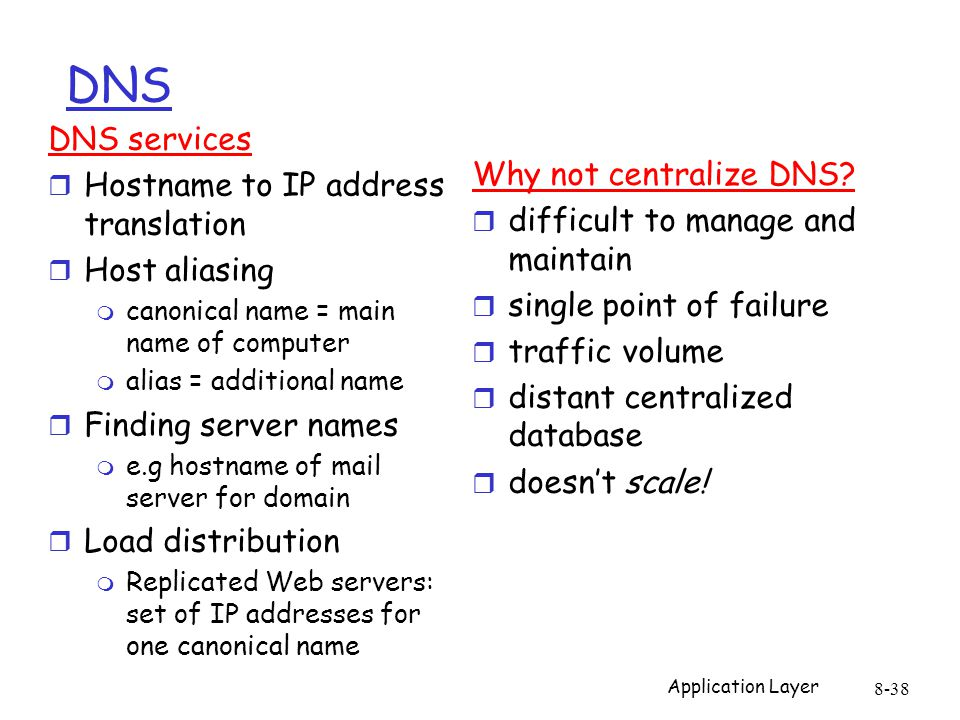 Application Layer 8-38 DNS Why not centralize DNS.