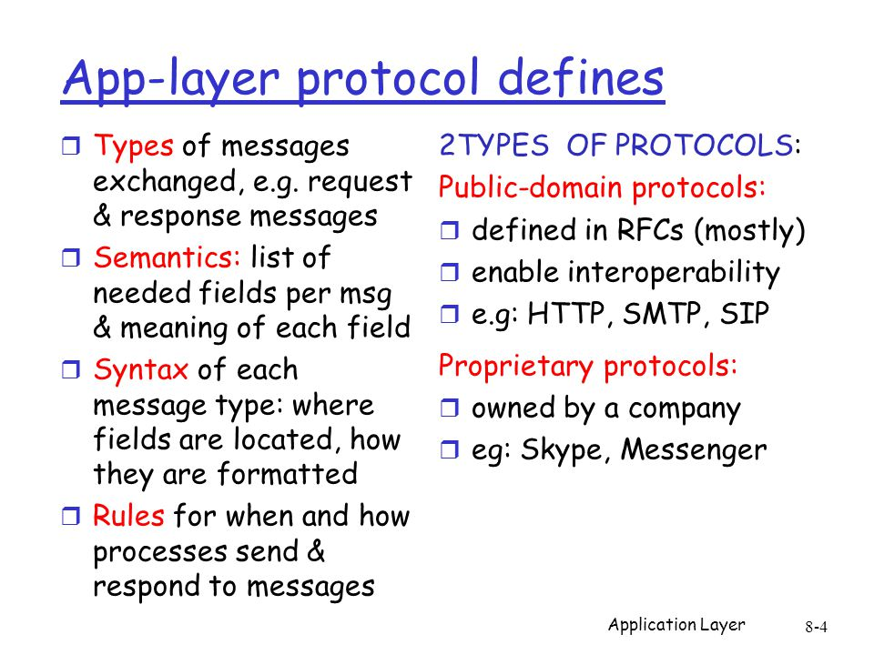Application Layer 8-4 App-layer protocol defines r Types of messages exchanged, e.g. request & response messages r Semantics: list of needed fields pe