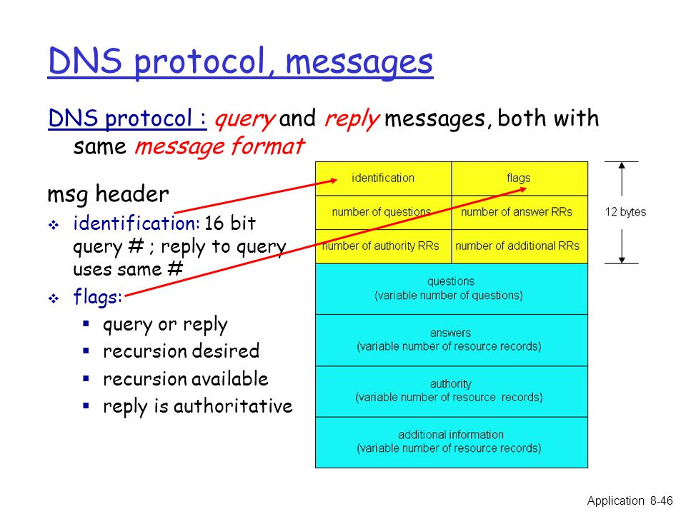 DNS protocol, messages DNS protocol : query and reply messages, both with same message format msg header  identification: 16 bit query # ; reply to query uses same #  flags:  query or reply  recursion desired  recursion available  reply is authoritative Application 8-46