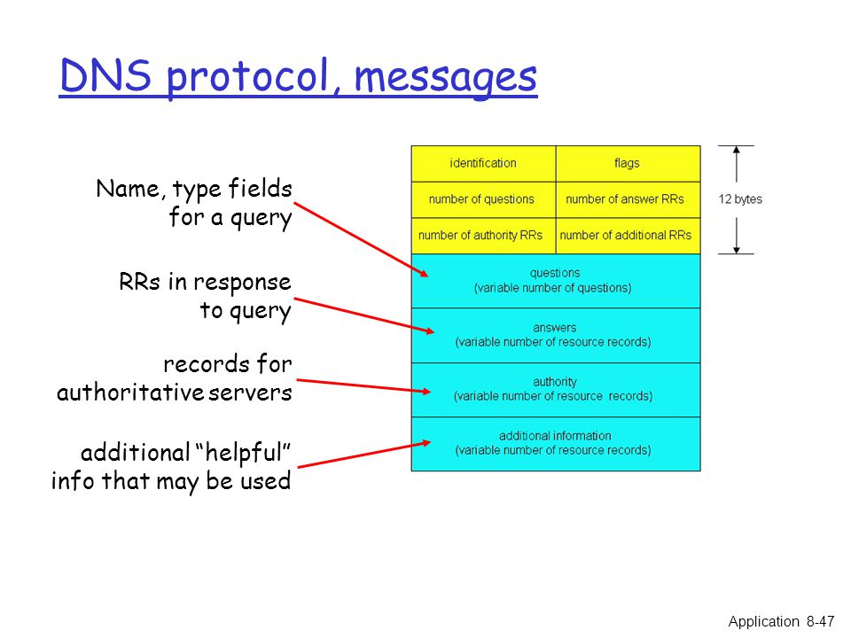 """DNS protocol, messages Name, type fields for a query RRs in response to query records for authoritative servers additional """"helpful"""" info that may be"""