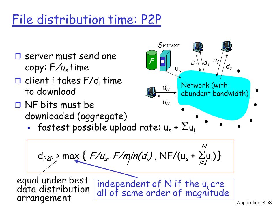 File distribution time: P2P usus u2u2 d1d1 d2d2 u1u1 uNuN dNdN Server Network (with abundant bandwidth) F r server must send one copy: F/u s time r client i takes F/d i time to download r NF bits must be downloaded (aggregate)  fastest possible upload rate: u s +  u i d P2P ≥ max { F/u s, F/min(d i ), NF/(u s +  u i ) } i i=1 Application 8-53 N independent of N if the u i are all of same order of magnitude equal under best data distribution arrangement