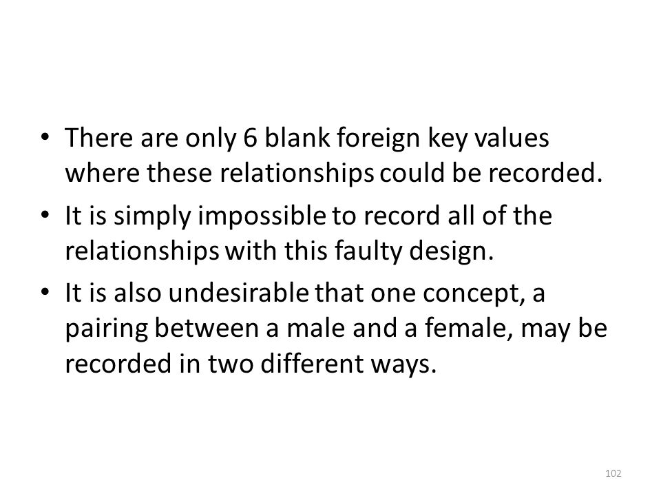 There are only 6 blank foreign key values where these relationships could be recorded.