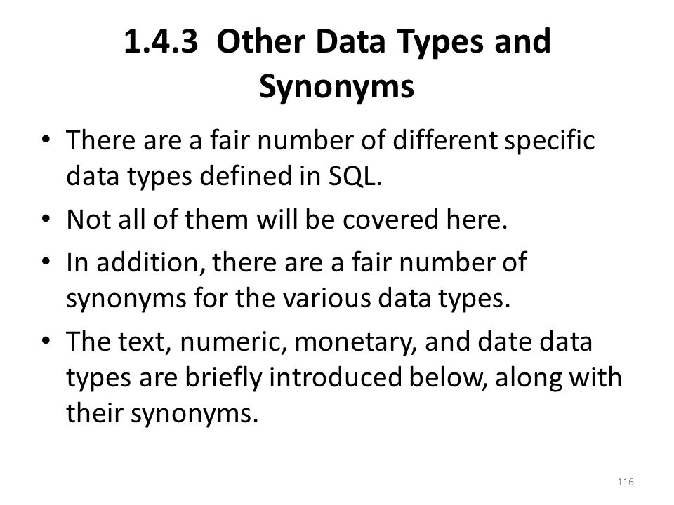 1.4.3 Other Data Types and Synonyms There are a fair number of different specific data types defined in SQL.