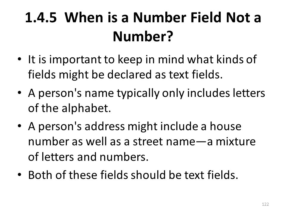 1.4.5 When is a Number Field Not a Number.