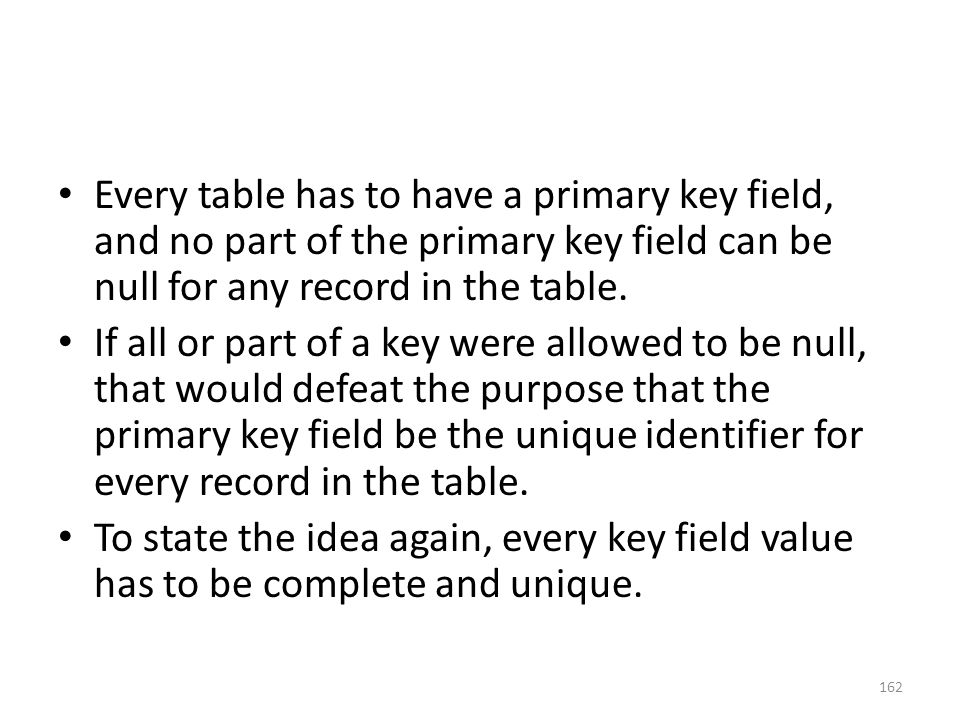Every table has to have a primary key field, and no part of the primary key field can be null for any record in the table.