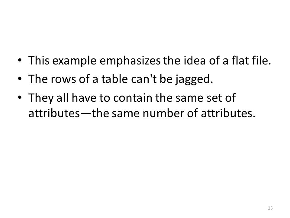 This example emphasizes the idea of a flat file. The rows of a table can t be jagged.