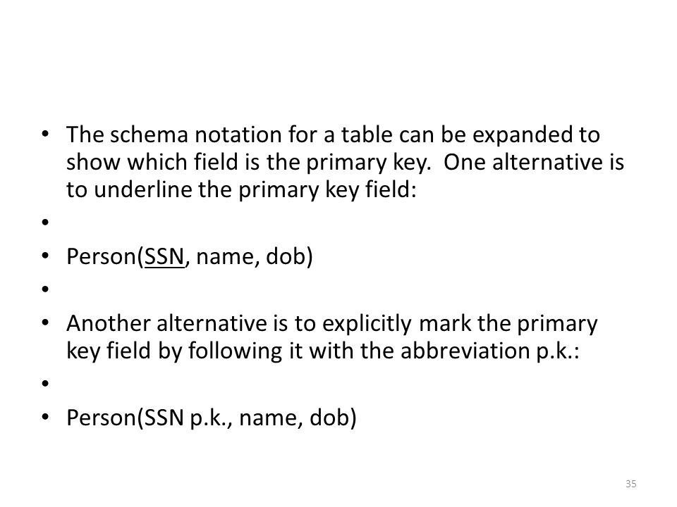 The schema notation for a table can be expanded to show which field is the primary key.