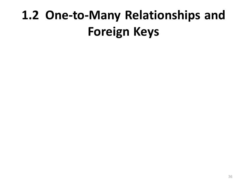 1.2 One-to-Many Relationships and Foreign Keys 36