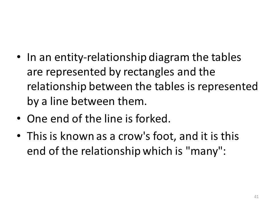 In an entity-relationship diagram the tables are represented by rectangles and the relationship between the tables is represented by a line between them.